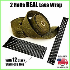 "Titanium Lava Exhaust Header Pipe Heat Wrap 2 Rolls 2""x25' Black Stainless Ties"