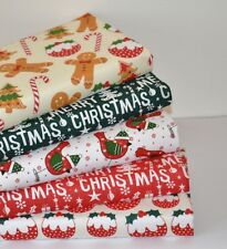 CHRISTMAS FABRIC 5 PIECE FQ FAT QUARTER BUNDLE POLY COTTON ROBIN GINGERBREAD MAN