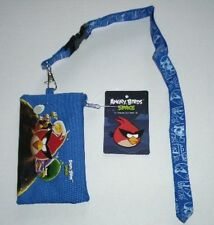 Blue Angry Birds Lanyard rovio Licensed Zipper Wallet Pouch ID Badge Holder $$