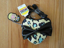GIRL HARAJUKU LEOPARD SPOTS HEART BOW Black Purse Handbag NWT 4t 5t 4 5 6 7