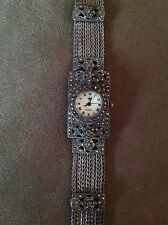 VINTAGE WOMENS DIAMOND WRIST WATCH STERLING SILVER & MARCASITE WATCH 925 FLOWERS