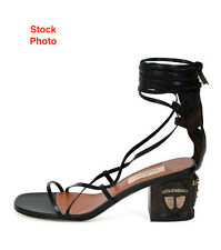 VALENTINO MASK-HEEL LACE-UP LEATHER BLACK/BROWN SANDAL, EU39/ US9, New $875