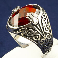 Turkish Handmade 925  Sterling Silver Men's Ring Ottoman Style Red Zircon Stone