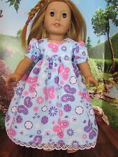 """homemade 18"""" american girl/madame alexander purple butter nightgown doll clothes"""