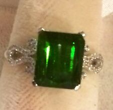 3.54CT    NATURAL GREEN TOURMALINE AND DIAMOND RING 10K  SOLID WHITE  GOLD
