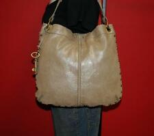 FOSSIL SERI Large Shimmer Beige Suede Leather Hobo Shoulder Tote Purse Bag 4394