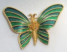 Vintage SIGNED BOUCHER Emerald Green & Blue Enamel Butterfly Brooch Pin # 9420 P