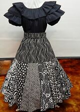 2 PIECE BLACK AND PRINT SQUARE DANCE PRAIRIE DRESS