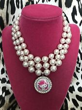 Tarina Tarantino Pink Head Hello Kitty Bride Bridal Glass Pearl Choker Necklace