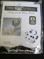 NEW PAW APPEAL DOG/PUPPY PET FASHION POLKA DOT YOUR FANCY DRESS BLACK/WHITE XS