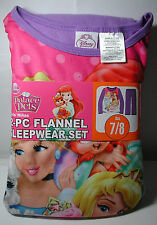 New Girls Disney Princess Palace Pets 2 pc Flannel Pajamas Sleepwear Set Sz 7/8