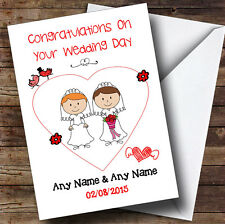 Doodle Gay Lesbian Female Couple Red Head Brunette Personalised Wedding Card