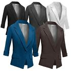 Womens Basic Color Fitted Casual One-Button 3/4 Sleeve Office Suit Blazer Jacket