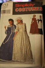 Sewing Pattern simplicity costume 9713 colonial pilgrim dress size D 4.6.8