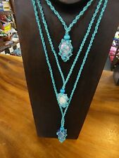 1xAqua Hemp mix Necklace for Tumble Stone (Interchangeable) stone not included