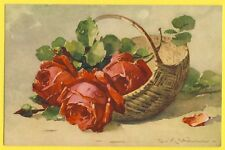 cpa SWITZERLAND Illustration Litho Catherine KLEIN Panier A Basket of ROSES