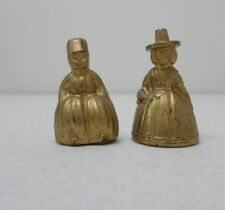 Lot 2 Vintage Brass Figural Lady Bells Welsh Woman Boy From India England