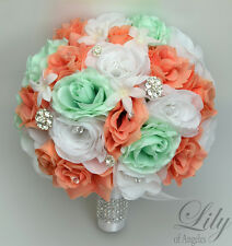17 Piece Package Silk Flower Wedding Bridal Bouquets Diamonds Jewels CORAL MINT