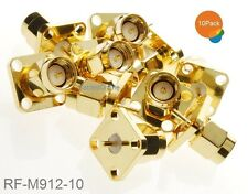 10-Pack SMA Male Panel Mount Gold Solder Post Connector RF Adapters, RF-M912-10