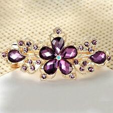 Crystal Rhinestone Flower Hairpin Barrette Women's Hair Clip Headwear Purple Hot