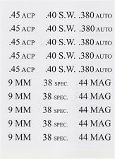 60 Ammo Can Labels for Pistol Ammo 10 Labels each- 45acp,9mm,40sw,38sp,380,44mag