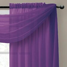 """Empire Home Solid Sheer Voile Scarf Valance 216"""" Long Window Scarves 25 Colors"""