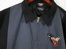 ~ DICKIES ~ BLACK & GRAY JACKET XL with WOLF PATCH ON FRONT X-LARGE VERY NICE