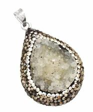 33cts.Huge Green Druzy Marcasite Cz Pendant Solid 925 Silver Jewelry IP29193