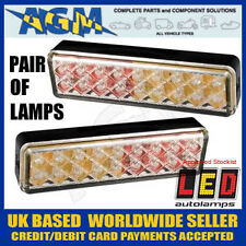 PAIR of LED Autolamps Slim Clear Effect Rear Lights 12/24V Stop Tail Indicator
