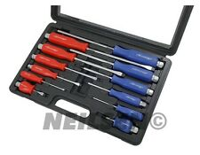 12PC Heavy Duty Hex Shank Engineers Mechanics Screwdriver Set Garage Tool New