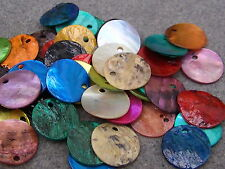 50 x 13mm Shell Pendant/Button Beads Mixed Colours. (BOX46)