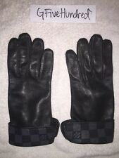 Used AUTHENTIC Louis Vuitton Damier Graphite Men's Leather Gloves M