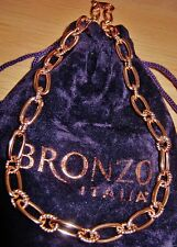 BRONZO ITALIA CHUNKY CHAIN STATEMENT NECKLACE 18CT ROSE GOLD BONDED BRONZE (QVC)