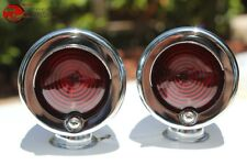Small Mini Red Marker Lights w Visor Chrome Custom Car Truck Hot Rod Chevy Ford