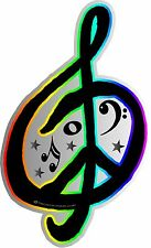 "1-4""x 6.5"" G Clef Peace Sign Decal Sticker World Music Rainbow Band Car  2116"