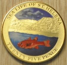 St.Helena 2013 Large Goldplated Color 25 Pence-Cod