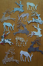 Mixed Lot 25 Large Christmas Reindeer Cut Outs. Various Colours/Patterns.
