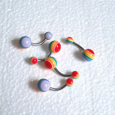 Rainbow Belly Bar 10mm Gay Pride Lesbian  Body Jewellery Navel Ring