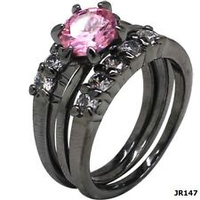 Black Wedding Ring Solitaire Halo Three in One Set Size 5 6 7 8 9 10 Engagement