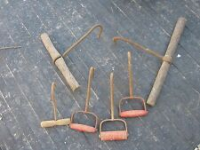 6 pcs Vintage ? Used  Wood Handle & Rusty HAY MEAT ICE HOOK Good for decor