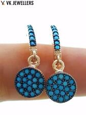 925 STERLING SILVER TURKISH HANDMADE JEWELRY NANO TURQUOISE EARRINGS E2723