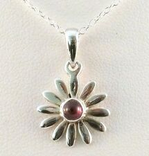 Funky 925 Sterling Silver Daisy Pendant with Real Garnet Stone and Silver Chain