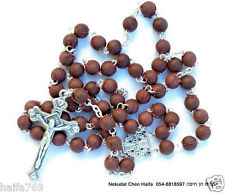 3 Rosary Necklace - rose scented beads  with Jerusalem cross in a gift Box