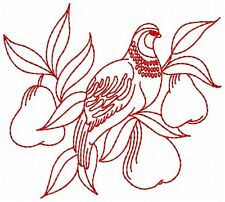 """Redwork 12 Days of Christmas Embroidery Designs CD in 3 sizes - 2.5"""" 4"""" 5"""" wide"""