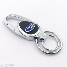 New style Metal alloy leather car logo key chain Key ring for Subaru.Free Ship