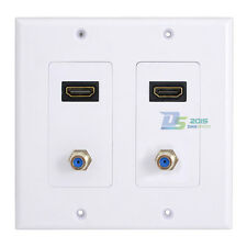 White HDMI Port Wall Face Plate Panel Outlet Socket 2 HDMI Socket 2 F type Coax