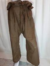 Islamic Mens Women nwt Pants Baggy FISHERMAN pantalon Trousers BROWN ROPE PIRATE