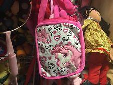 CHILDRENS PINK & WHITE UNICORN SOFT PLUSH ADJUSTABLE SHOULDER BAG NEW TAGS