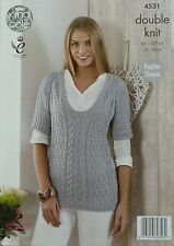 KNITTING PATTERN Ladies Short Sleeve Deep Round Neck Cable Jumper DK 4531