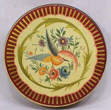 Vintage Decorative Rd Tin Bird of Paradise and Flowers Lid 1960s